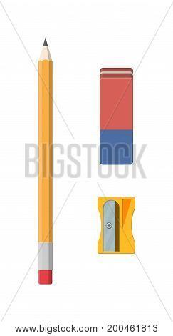 Black pencil, sharpener and eraser. Stationery set. Office supply. Vector illustration, flat style pencil