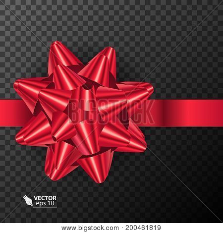Realistic beautiful red bow, isolated on transparent background. VectorEPS10