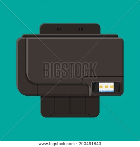Computer printer. Laser or inkjet. All in one printer. Modern device for printing, scanning and copying. Top view. Computer peripheral equipment. Vector illustration in flat style