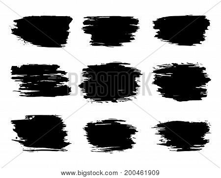 Vector grunge black ink  brush strokes isolated on white background.
