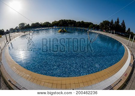 Fisheye view of an empty swimming pool