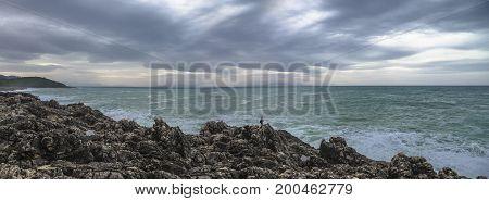 Panorama of sea shore. Extreme fishing. Greece
