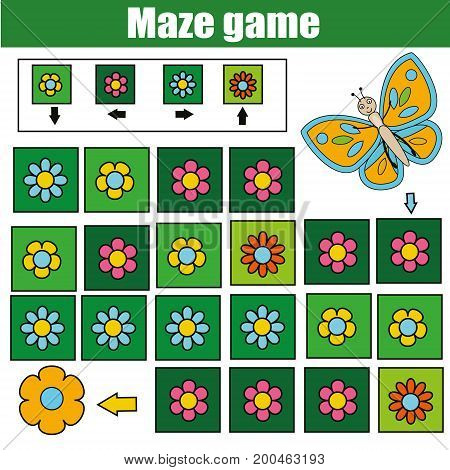Maze children game: help the butterfly go through the labyrinth and find flower. Kids activity sheet. Logic game with code and cipher navigation