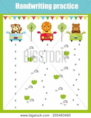 Handwriting practice sheet. Educational children game, printable worksheet for kids. Writing training printable worksheet with with wavy lines and animals