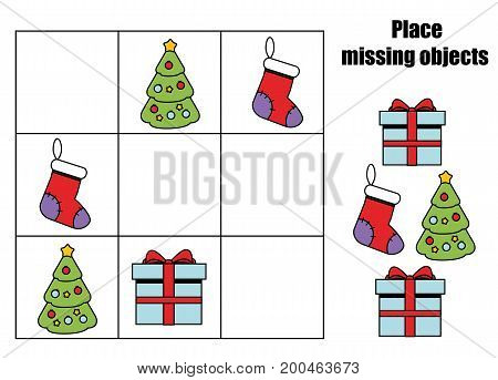 Place missing objects in grid. Kids activity sheet. Logic educational game for children. Christmas theme