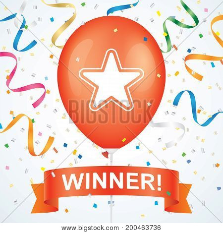 Winner greeting card vector design. Star printed red ballon with ribbon and colorfull confetti on a white background.