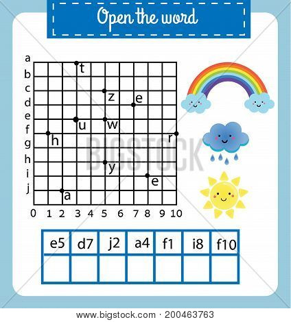 Words puzzle children educational game with coordinate grid. Place the letters in right order. Learning vocabulary worksheet. Weather theme