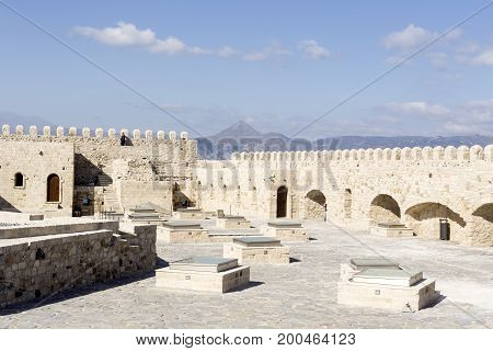 View of the ancient Venetian fortress (Crete, city Heraklion, Greece)