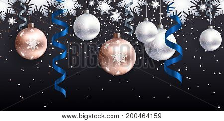 Festive Christmas decoration for website, social networks, blog or your video channel. Seamless horizontal pattern. The endless tape. Vector. EPS10. Christmas balls and serpentine on black background.