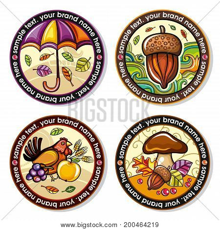 Vector set of Seasonal Autumn round drink coasters for cold hot beverages. Cartoon fall designs for bar pub coffee shop to place tea mug or beer bottle. Laves nuts umbrella mushrooms and hen