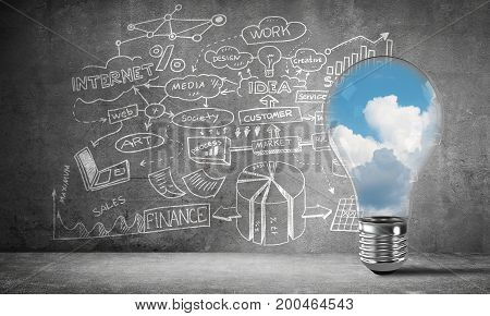 Lightbulb with cloudly skyscape placed against sketched business plan on grey wall. 3D rendering.
