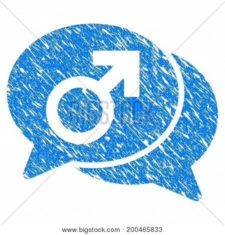 Grunge Male Chat icon with grunge design and scratched texture. Unclean vector blue pictogram for rubber seal stamp imitations and watermarks. Draft emblem symbol.