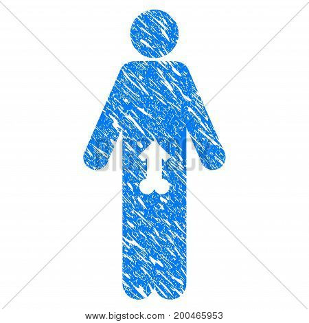 Grunge Male Potence icon with grunge design and dust texture. Unclean vector blue pictogram for rubber seal stamp imitations and watermarks. Draft sticker symbol.