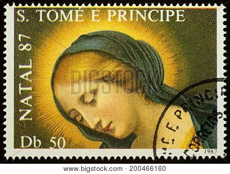 Moscow Russia - August 17 2017: A stamp printed in Sao Tome and Principe shows painting of Madonna by Carlo Dola series