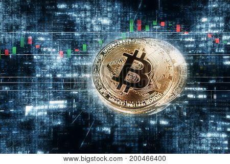 abstract golden bitcoin coin Crypto Currency background concept.