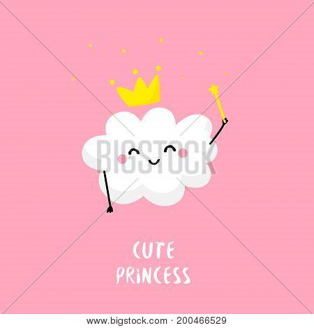 Cute cloud princess with a magic wand. Flat style. Vector card.