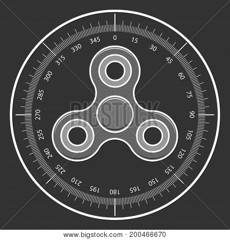 Hand fidget spinner icon in sniper scope isolated on black background. Vector illustration of modern toy.