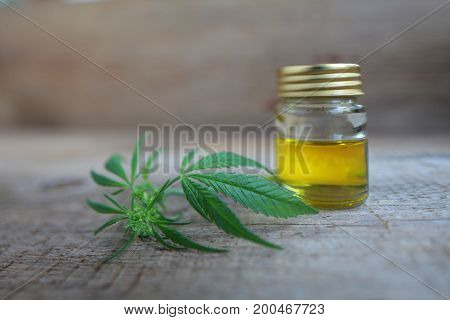 A Cannabis Leaf And A Bottle Of Hemp Oil On A Wooden Table