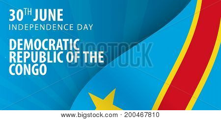 Independence Day Of Democratic Republic Of The Congo. Flag And Patriotic Banner.
