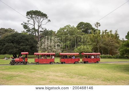 SYDNEY,NSW,AUSTRALIA-NOVEMBER 19,2016: Red touring train with tourists on path through lush greenery at the Royal Botanic Gardens in Sydney, Australia.