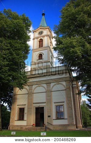Evangelical-Augsburg Church of the Apostles Peter and Paul in Wisla, built in 1838 in the classicist style.