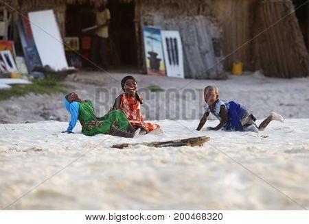 Little Cheerful African Girls