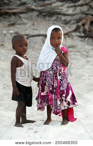 Little African Children On Nungvi Beach, Tanzania