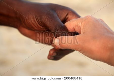 Hands Of A Caucasian Woman And An African Man