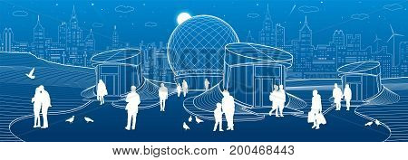 Modern city architecture. Entrance to underpass. Sphere building. Futuristic urban illustration. People walking at street. Airplane fly. Night town. White lines on blue background, vector design art