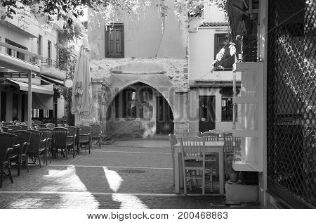 Morning in the city and the Rimondi fountain in Rethymno Greece