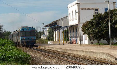 A train pulls into Conceicou station, Algarve, Portugal.