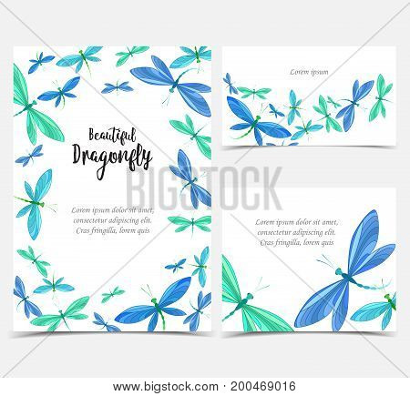 Vector illustration of dragonfly on a white background. Brightly colored dragonflies in flight. Set of greeting cards