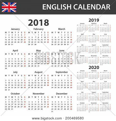 English Calendar for 2018, 2019 and 2020. Scheduler, agenda or diary template. Week starts on Monday