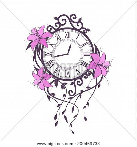 Vector illustration of pink flowers and clock. Floral branches Lily on a white background