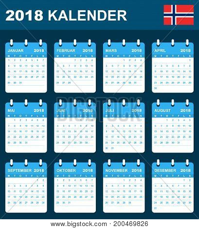 Norwegian Calendar for 2018. Scheduler, agenda or diary template. Week starts on Monday