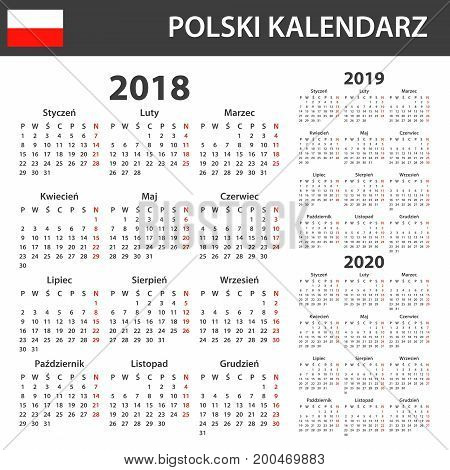 Polish Calendar for 2018, 2019 and 2020. Scheduler, agenda or diary template. Week starts on Monday