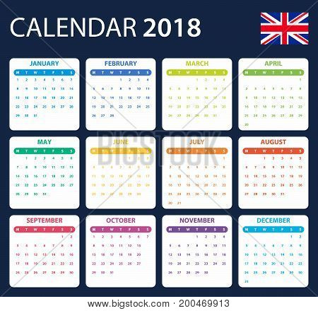 English Calendar for 2018. Scheduler, agenda or diary template. Week starts on Monday