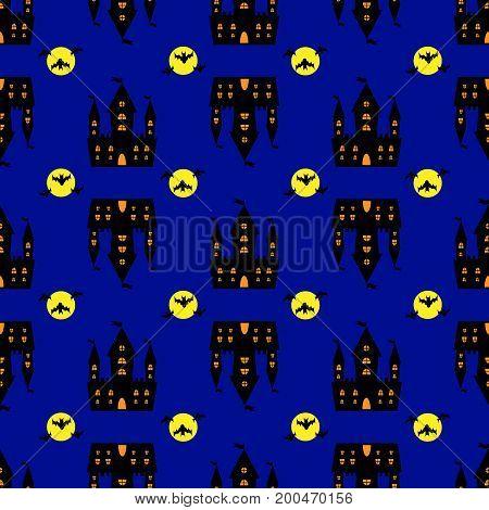 Castle halloween seamless pattern vector dark, bat, road, nightmare, art
