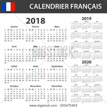 French Calendar for 2018, 2019 and 2020. Scheduler, agenda or diary template. Week starts on Monday