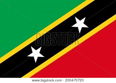 Vector illustration of National Flag of Saint Kitts and Nevis