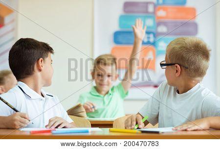 Portrait Of Schoolboy Raises His Hand At The Lesson