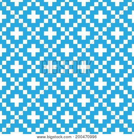 Pixel style vector seamless pattern. Blue ornaments on white background. Nordic style fabric swatch.
