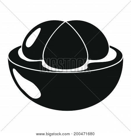 Mangosteen in black simple silhouette style icons vector illustration for design and web isolated on white background. Mangosteen vector object for labels and logo