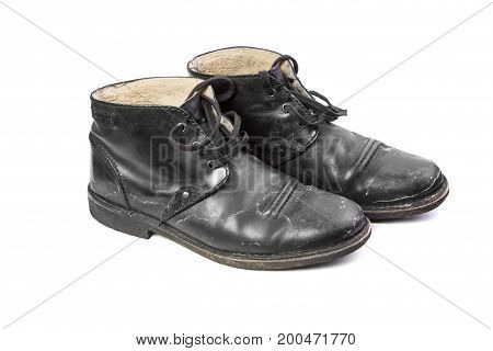 Winter men's shoes with a protruding salt side view