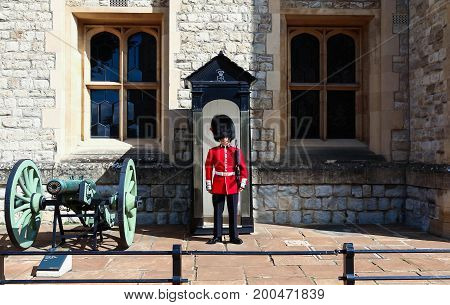 London, England-August 12 , 2017 :The British Royal guard in the London Tower on guard duty , London, United Kingdom.