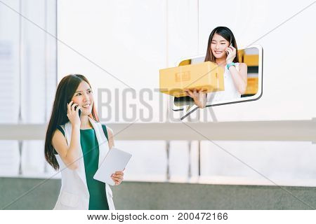 Beautiful girl shop using smartphone and cute female small business owner in chat speech bubble deliver parcel box. Ecommerce communication shipping commercial SME sale promotion advertise concept