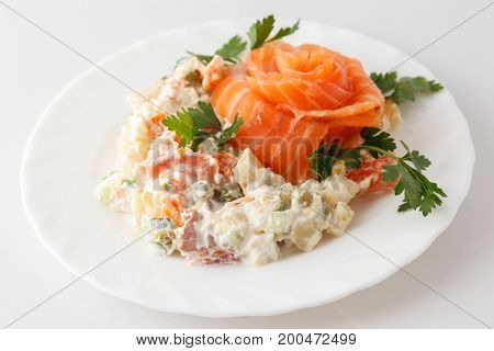 Russian Salad Olivier On A White Plate