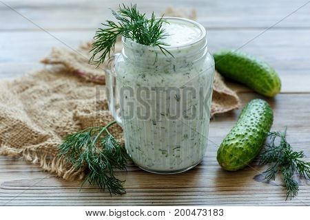 Delicious Smoothie With Cucumber, Herbs And Yogurt.