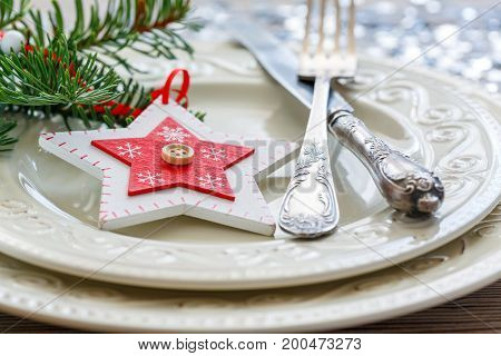 Christmas Decor On A White Porcelain Plate.