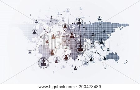 Background image with social connection and networking concept on white wall